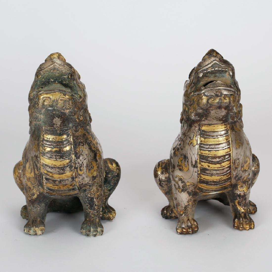 CHINESE BRONZE FOOLION WITH GILT AND SILVER - 2