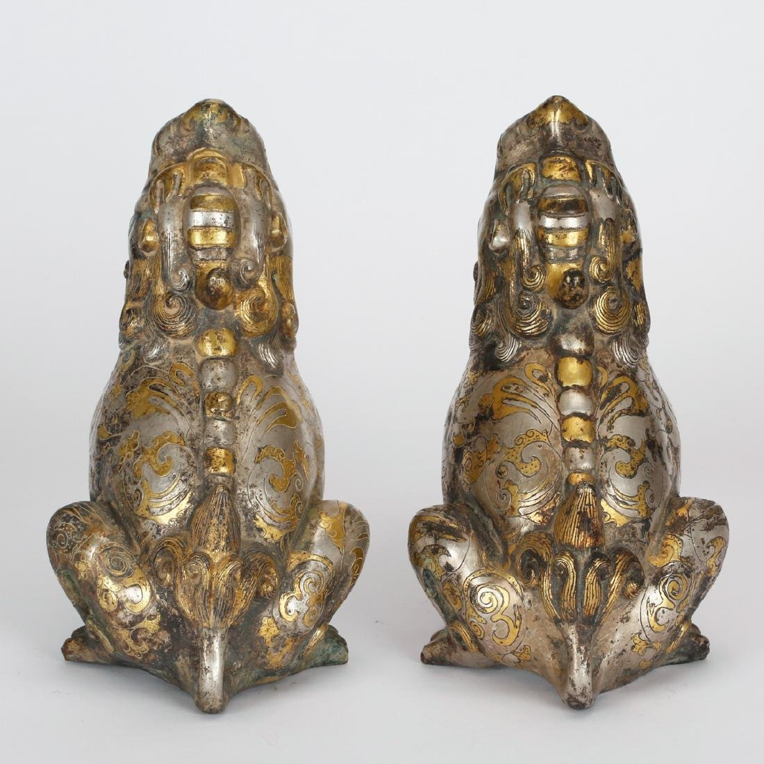 CHINESE BRONZE FOOLION WITH GILT AND SILVER - 3