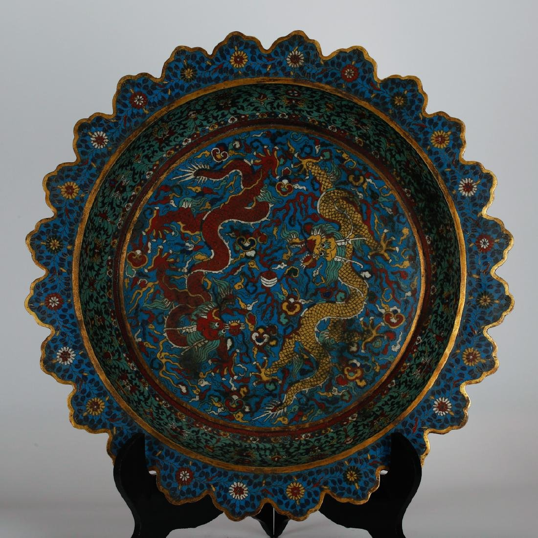 CHINESE LARGE CLOISONNE DRAGON CHARGER