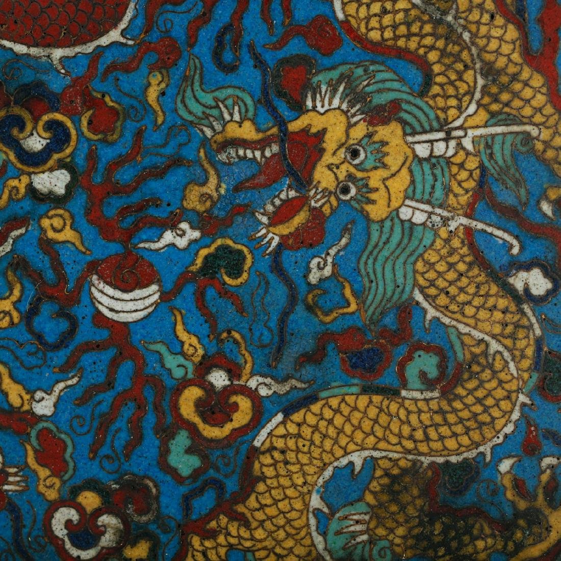 CHINESE LARGE CLOISONNE DRAGON CHARGER - 3