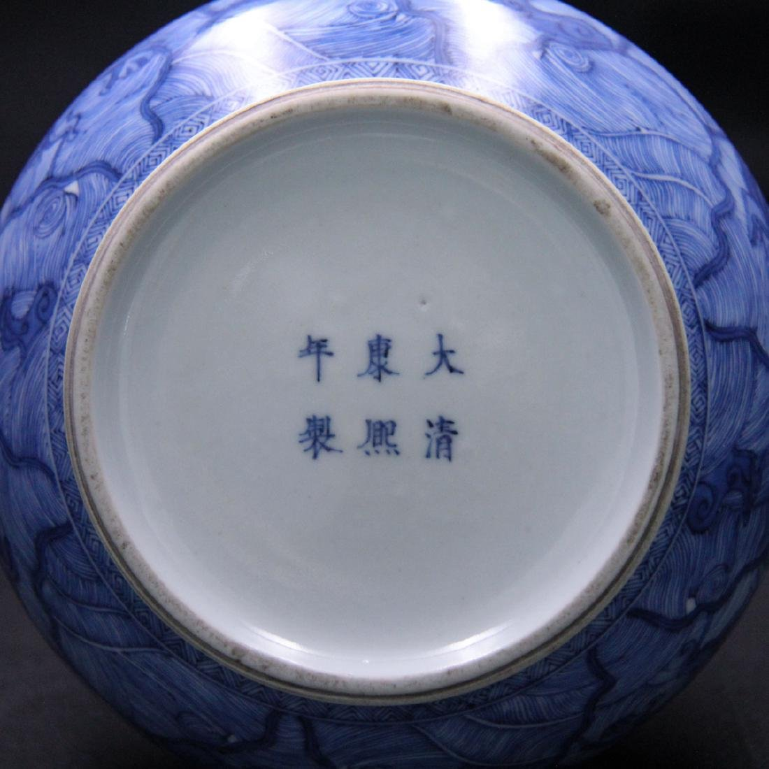 CHINESE BLUE AND WHITE GARLIC HEAD VASE - 5