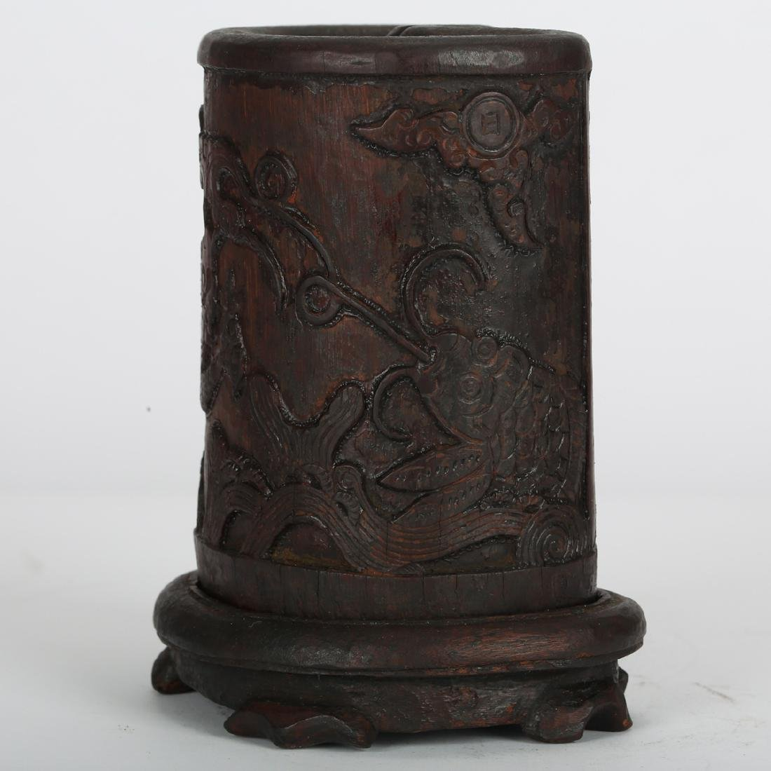 CHINESE BAMBOO CARVED BRUSH POT - 5