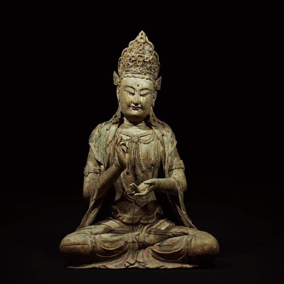CHINESE WOOD CARVED SEATED GUANYIN