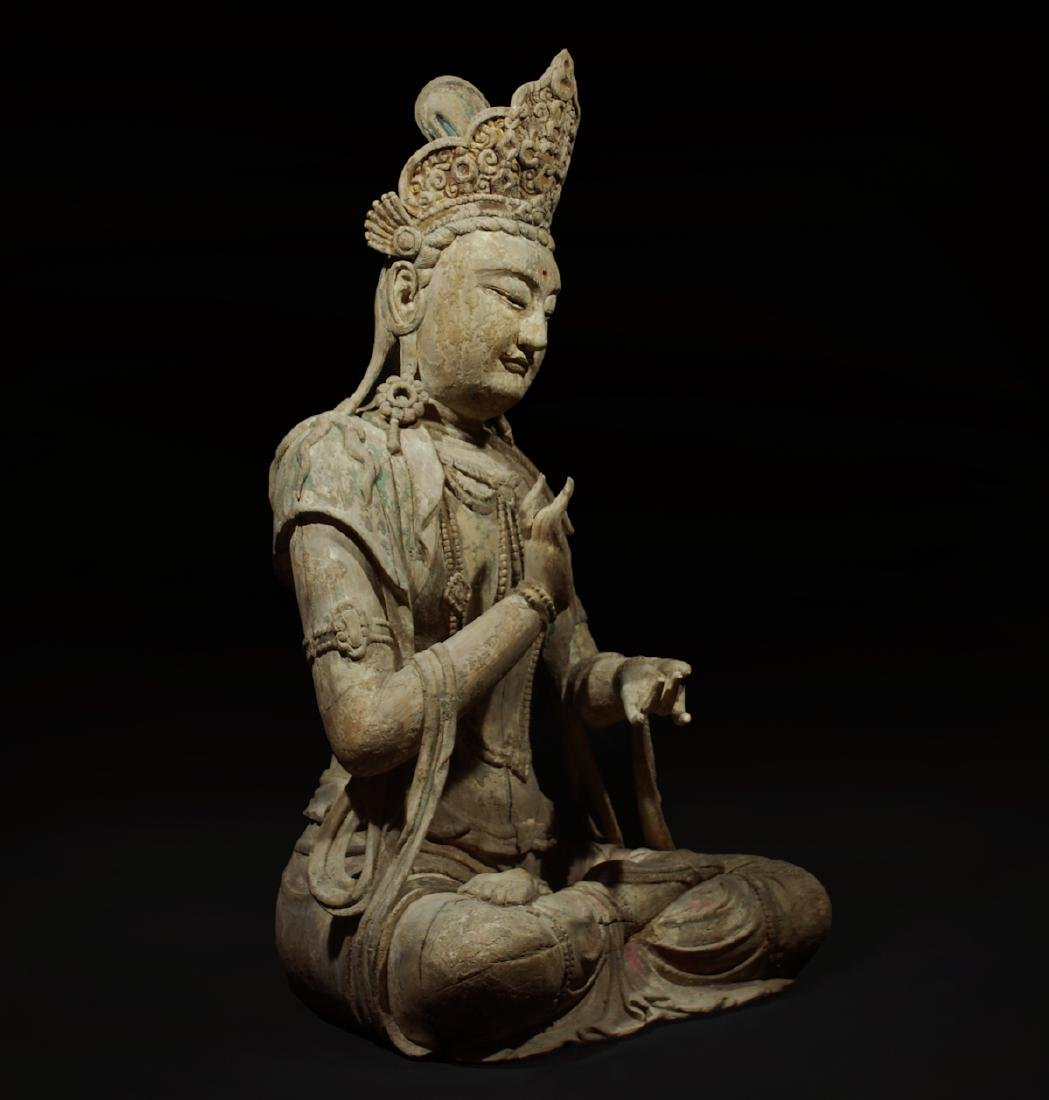 CHINESE WOOD CARVED SEATED GUANYIN - 2