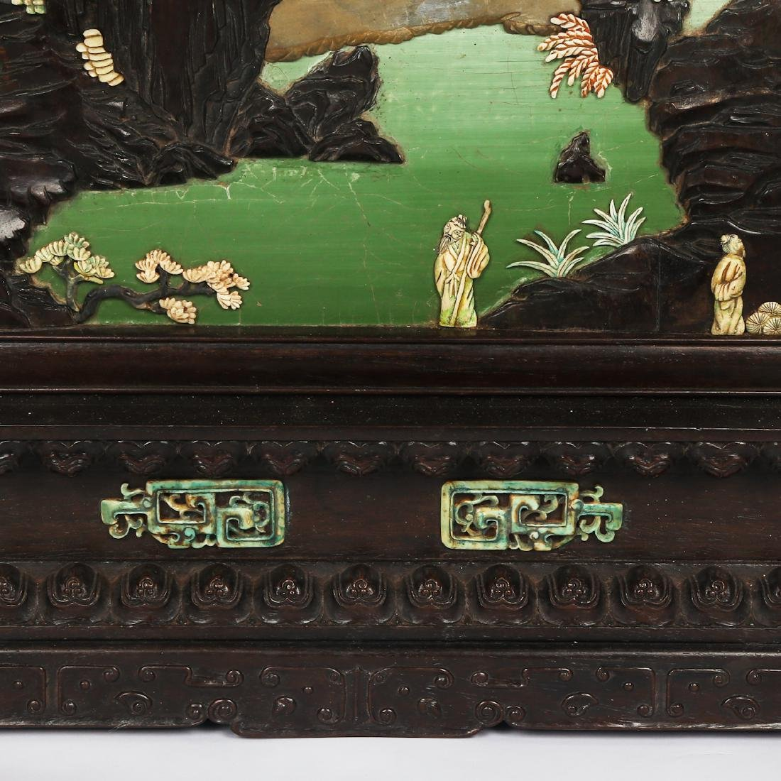 CHINESE HARDWOOD TABLE SCREEN WITH INLAID - 9