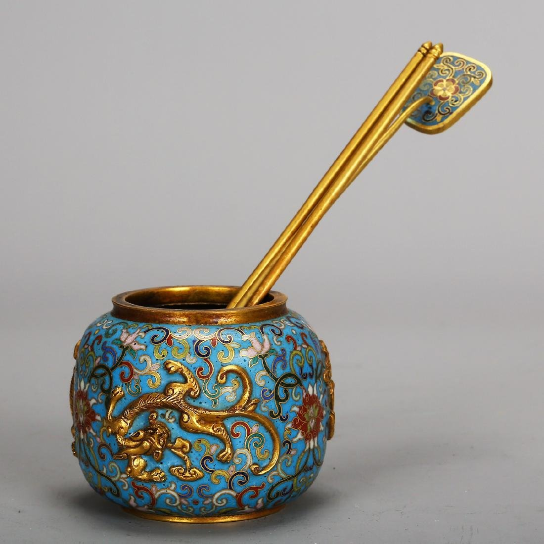 CHINESE CLOISONNE SCHOLAR WATER COUPE