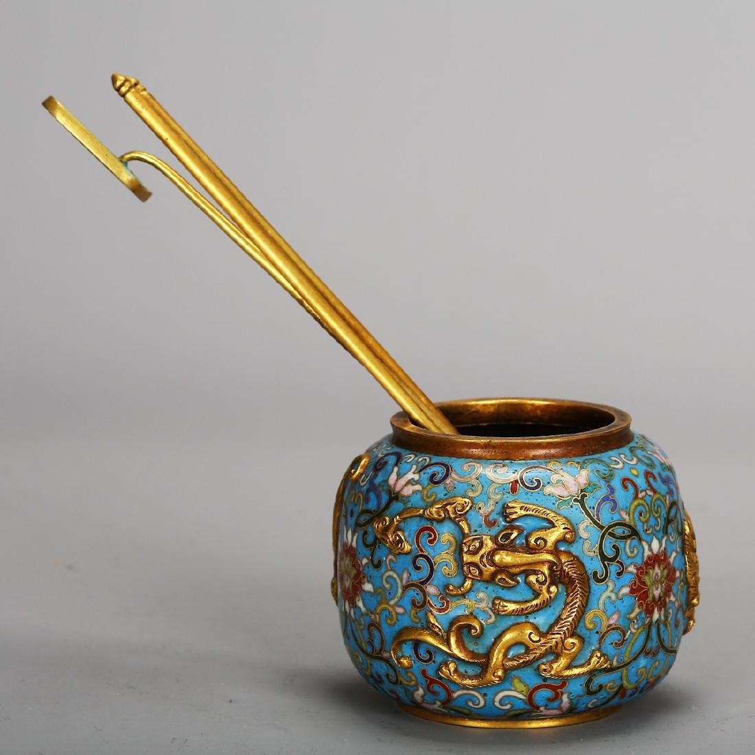 CHINESE CLOISONNE SCHOLAR WATER COUPE - 3