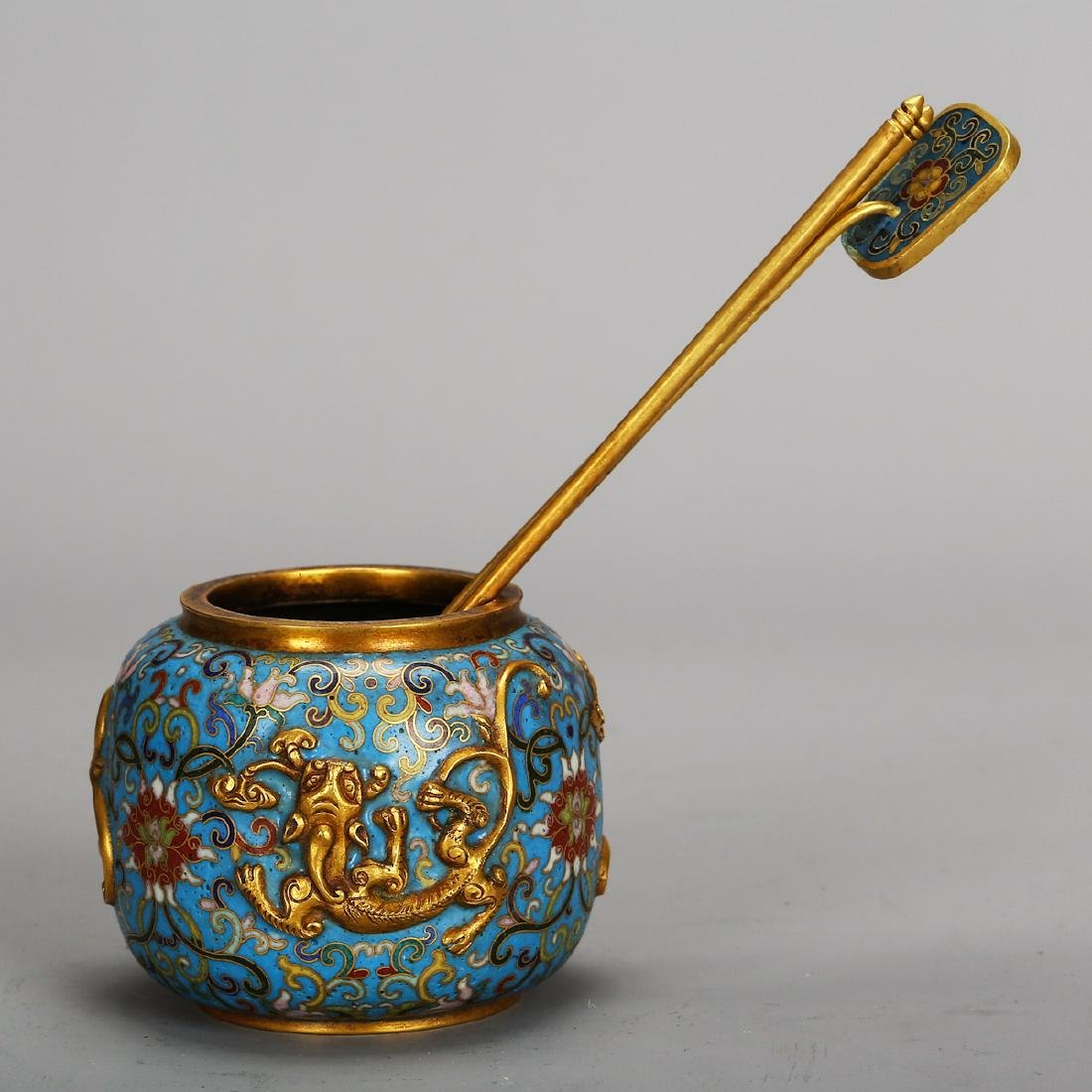CHINESE CLOISONNE SCHOLAR WATER COUPE - 4