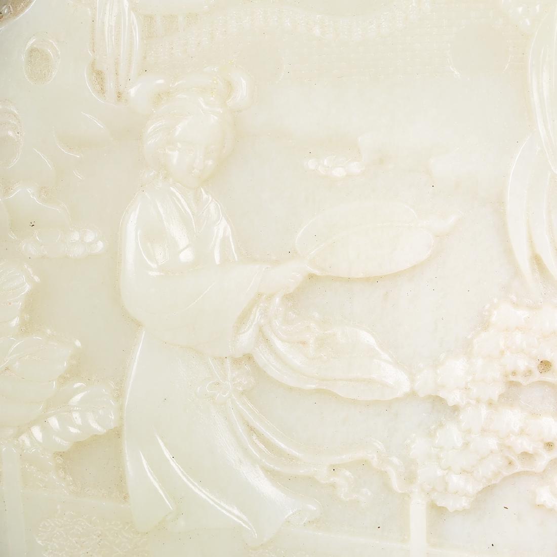 CHINESE WHITE JADE W/ GILT BRONZE TABLE SCREEN - 2