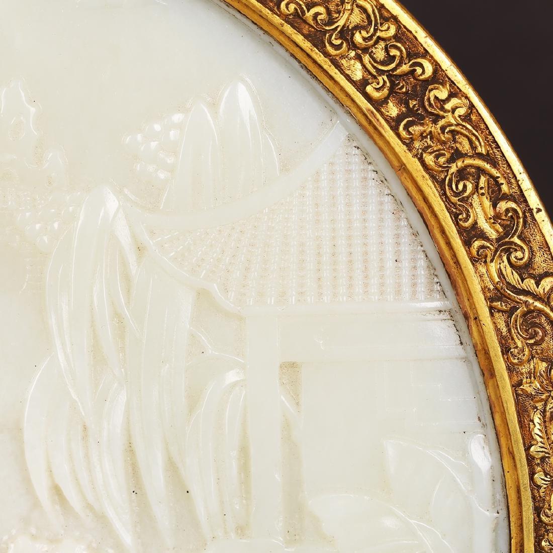 CHINESE WHITE JADE W/ GILT BRONZE TABLE SCREEN - 3