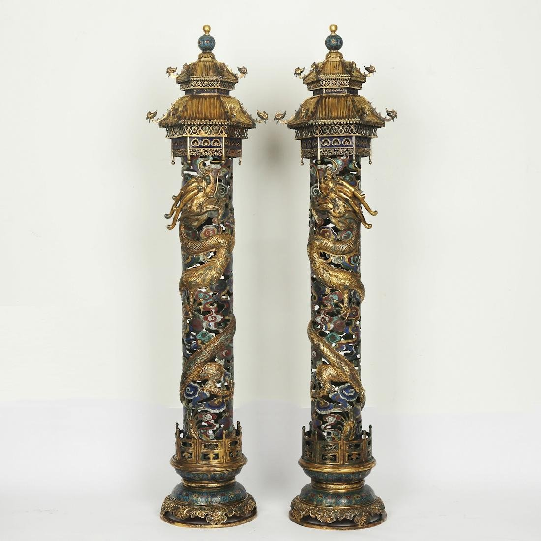 CHINESE PAIR OF CLOISONNE DRAGON CENSER