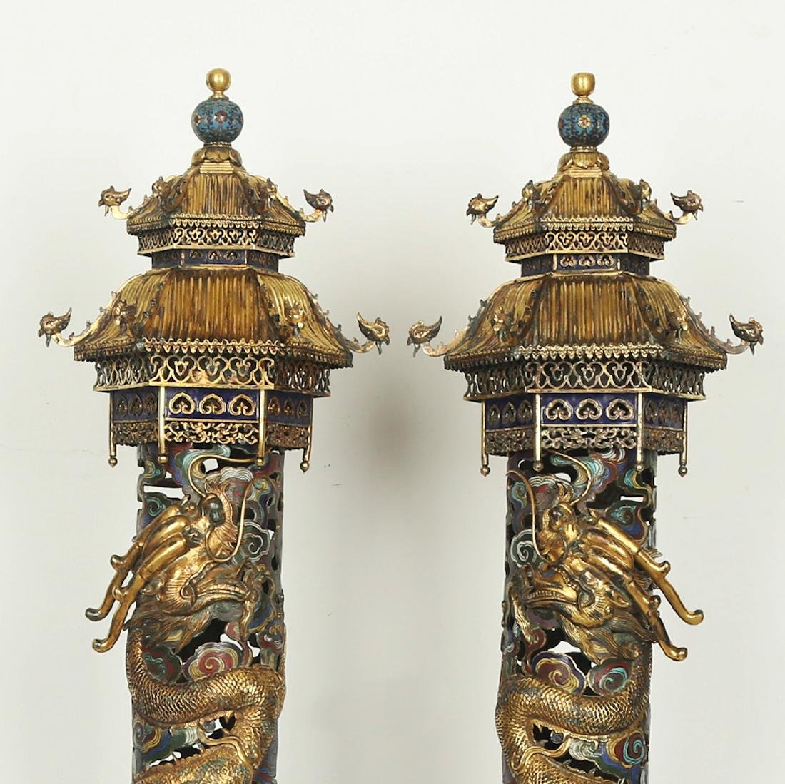 CHINESE PAIR OF CLOISONNE DRAGON CENSER - 2