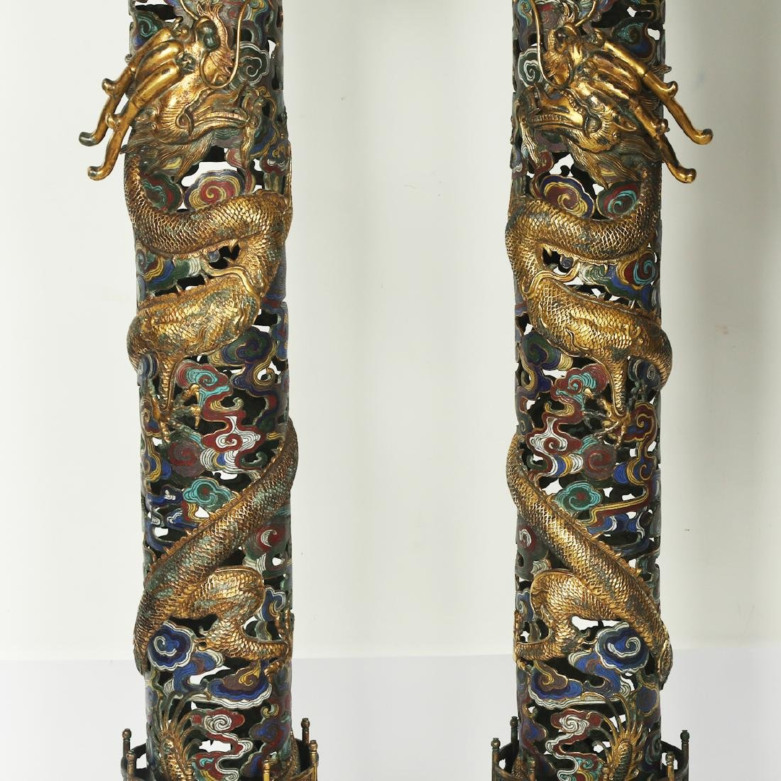 CHINESE PAIR OF CLOISONNE DRAGON CENSER - 3