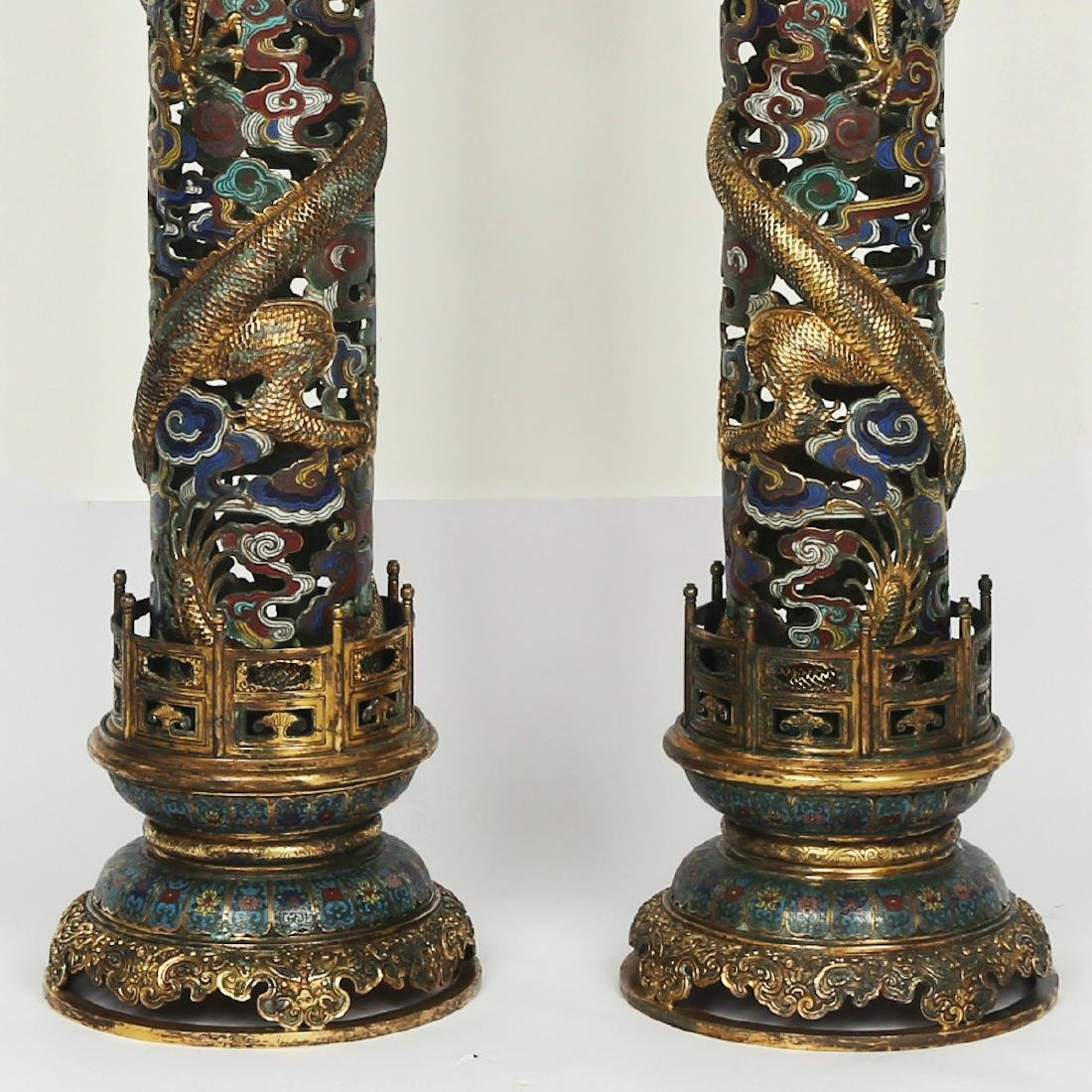 CHINESE PAIR OF CLOISONNE DRAGON CENSER - 4