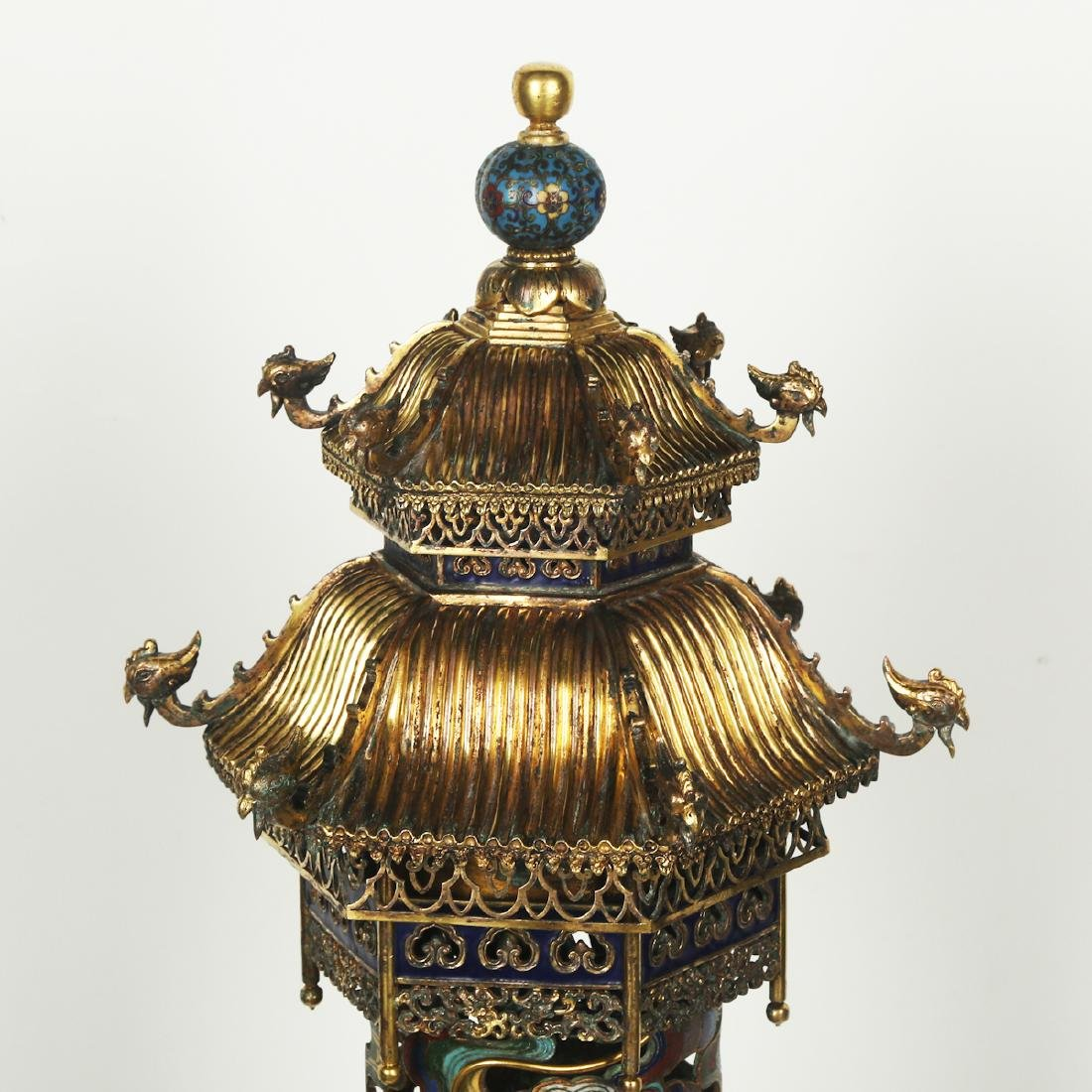 CHINESE PAIR OF CLOISONNE DRAGON CENSER - 5