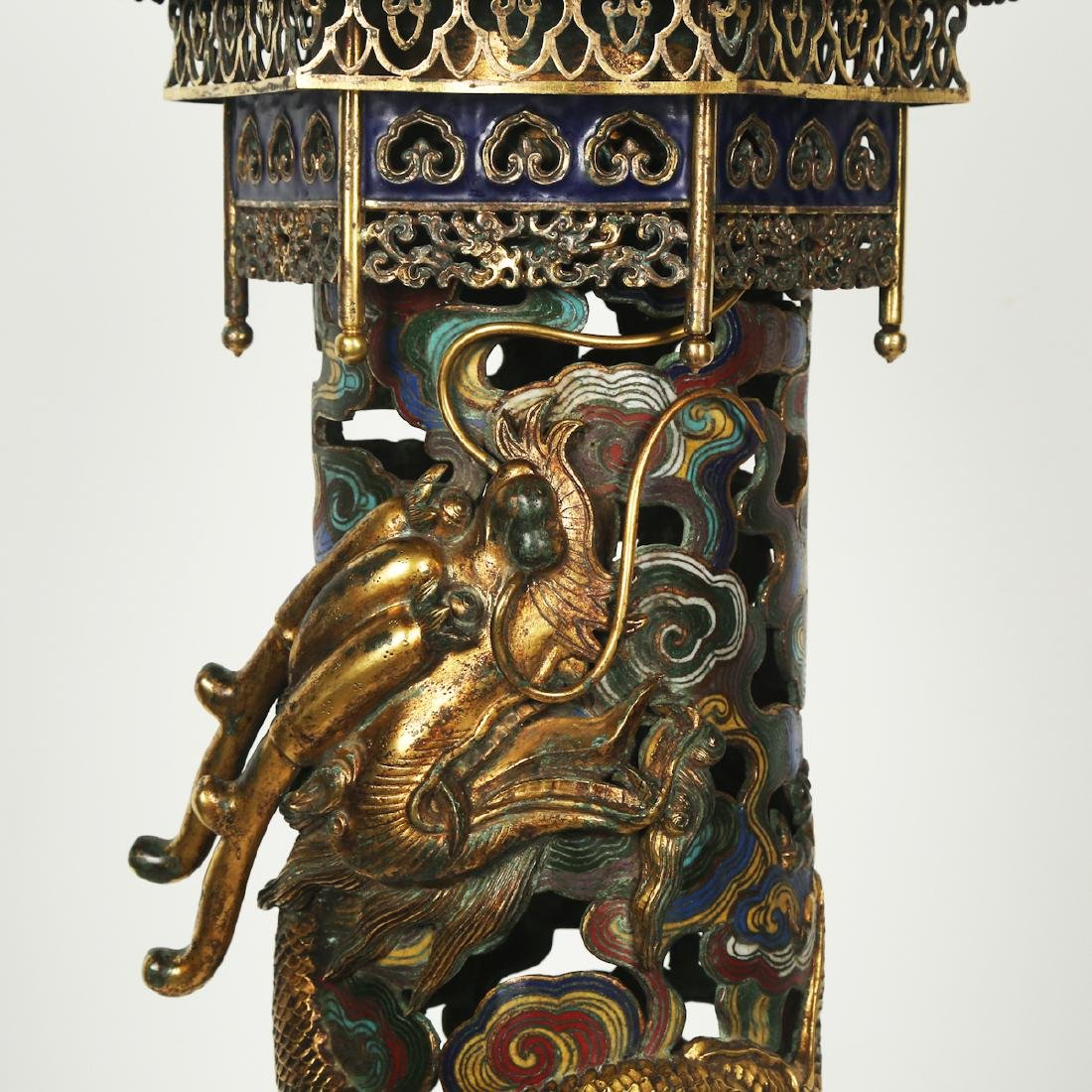CHINESE PAIR OF CLOISONNE DRAGON CENSER - 6