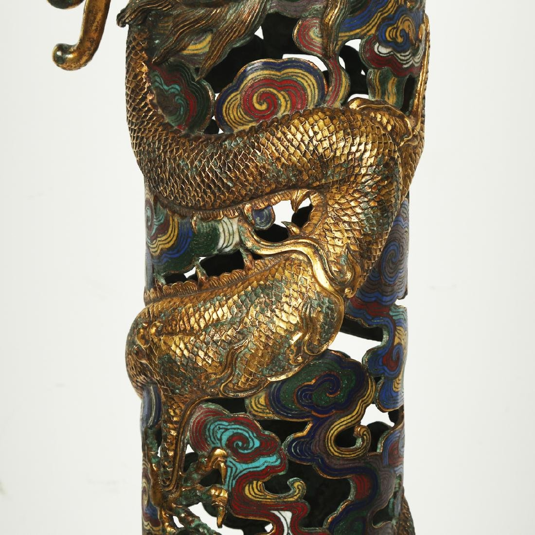CHINESE PAIR OF CLOISONNE DRAGON CENSER - 7