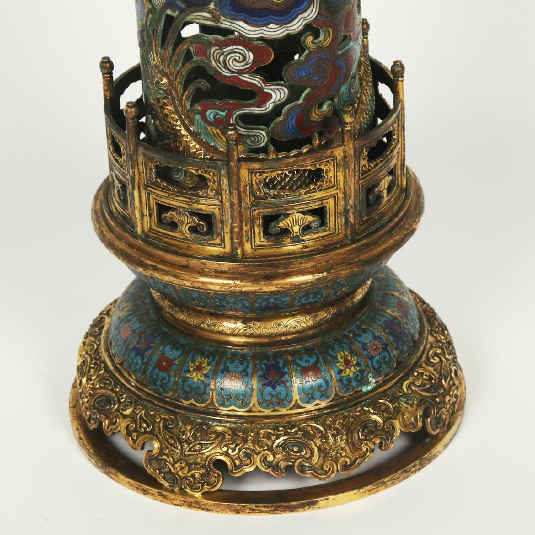 CHINESE PAIR OF CLOISONNE DRAGON CENSER - 8