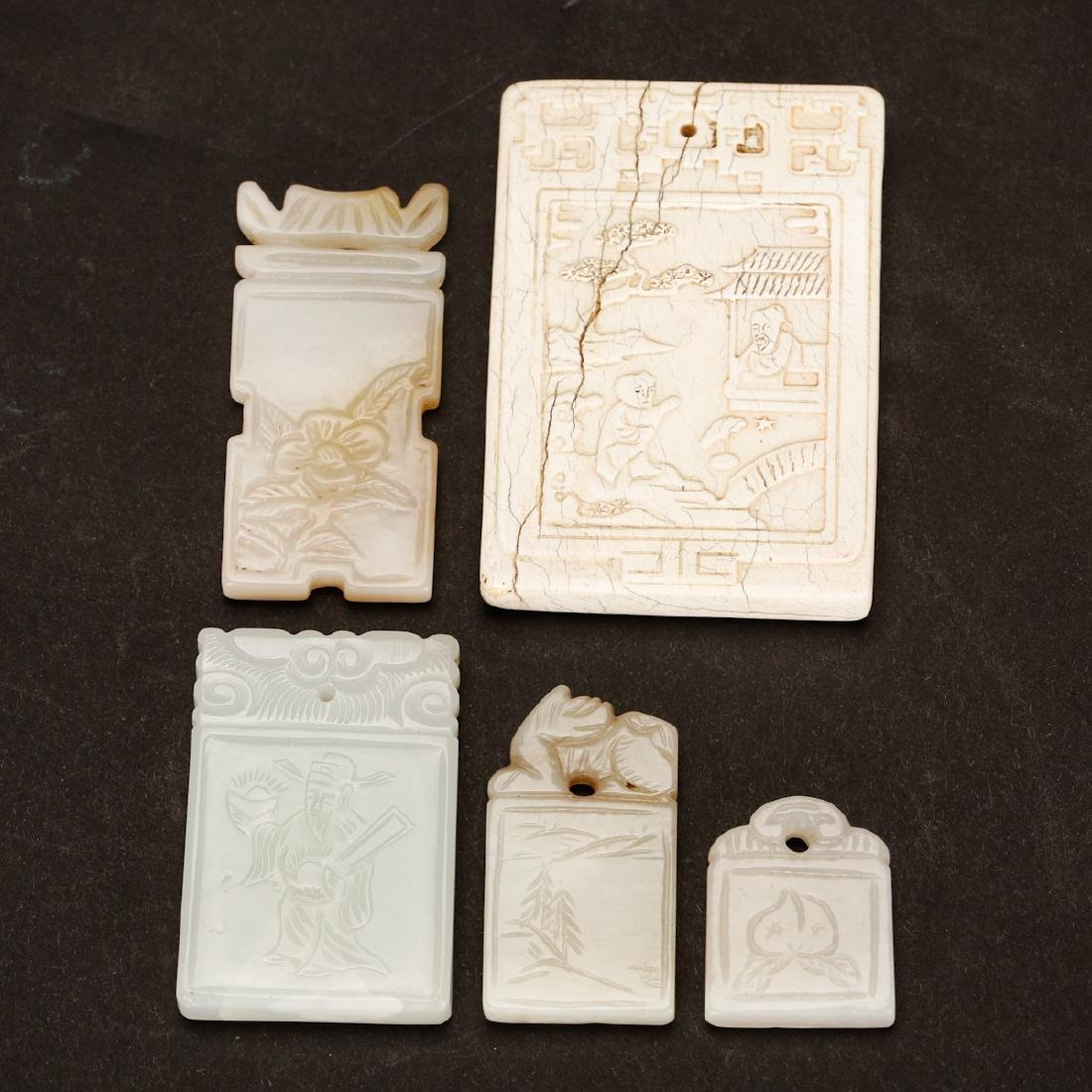 CHINESE SET OF JADE PLAQUE PENDANTS