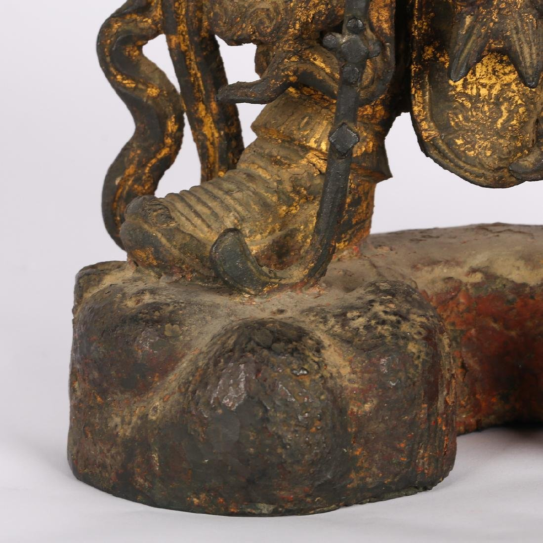 CHINESE TWO MING DYNASTY BRONZE FIGURE OF GUARDIAN - 10