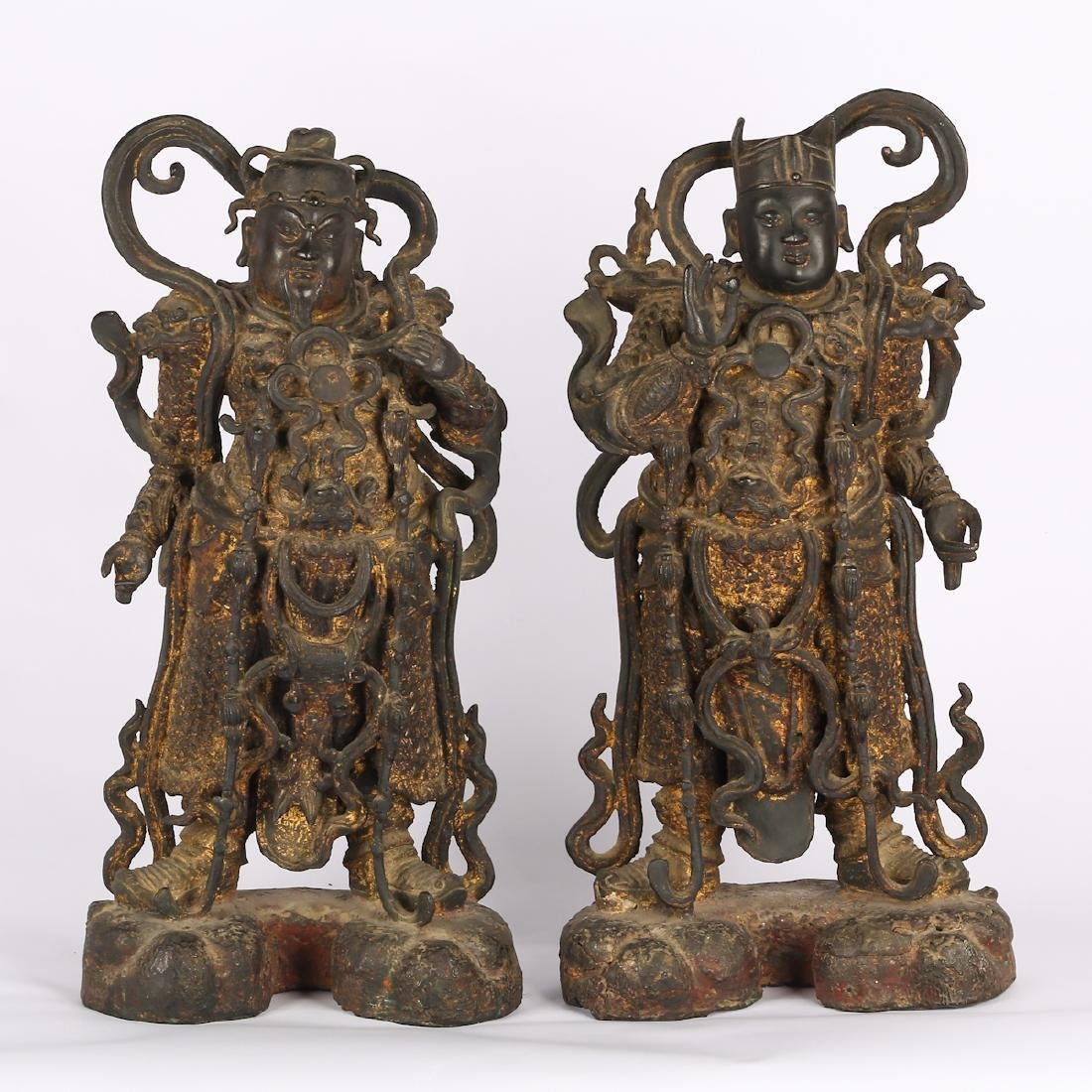 CHINESE TWO MING DYNASTY BRONZE FIGURE OF GUARDIAN