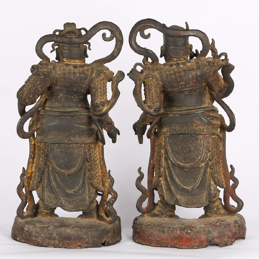 CHINESE TWO MING DYNASTY BRONZE FIGURE OF GUARDIAN - 3