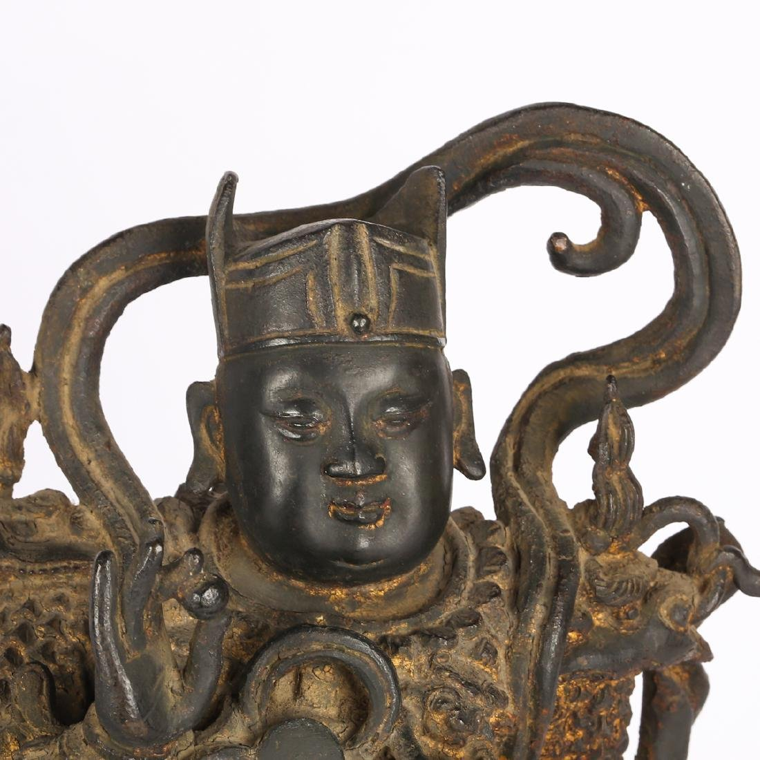 CHINESE TWO MING DYNASTY BRONZE FIGURE OF GUARDIAN - 4