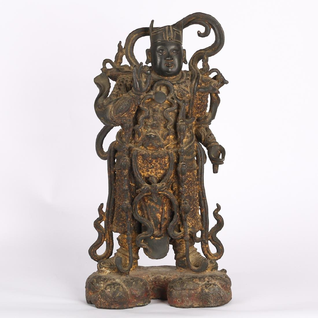 CHINESE TWO MING DYNASTY BRONZE FIGURE OF GUARDIAN - 5