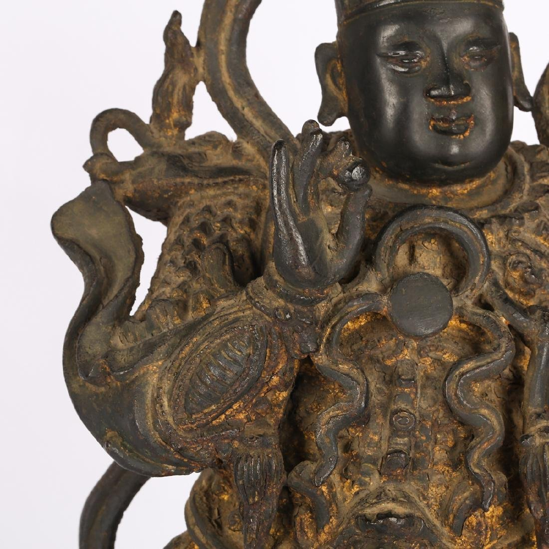 CHINESE TWO MING DYNASTY BRONZE FIGURE OF GUARDIAN - 6