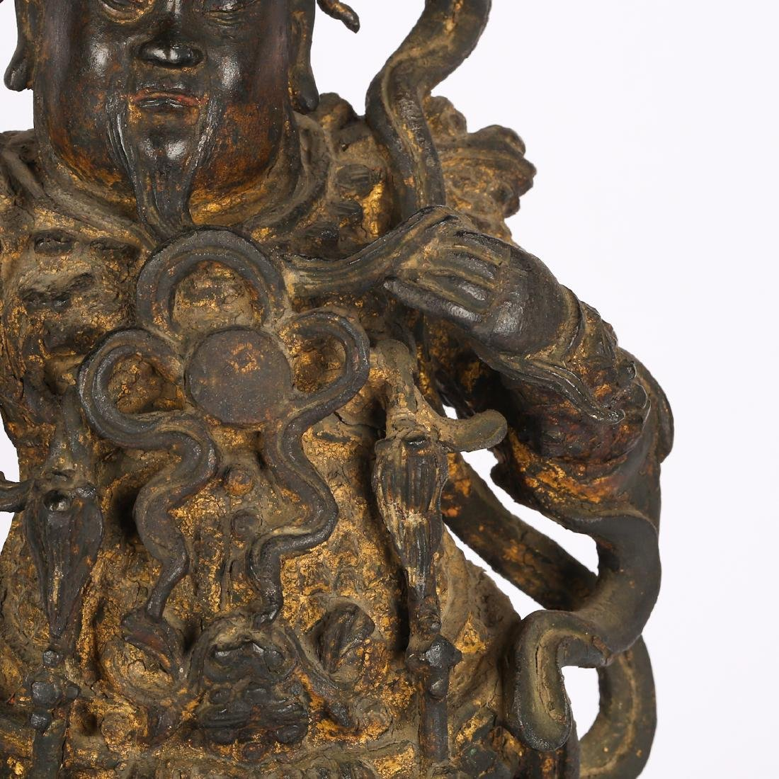 CHINESE TWO MING DYNASTY BRONZE FIGURE OF GUARDIAN - 9