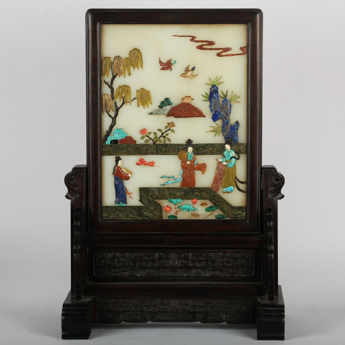 CHINESE WHITE JADE ON ROSEWOOD TABLE SCREEN