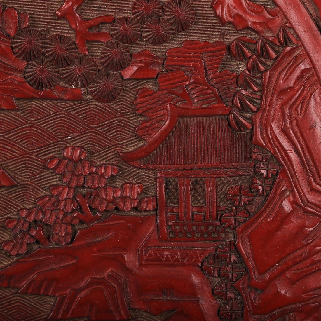 CHINESE CINNABAR LACQUER CHARGER - 2