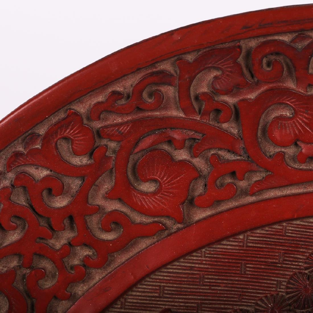 CHINESE CINNABAR LACQUER CHARGER - 3