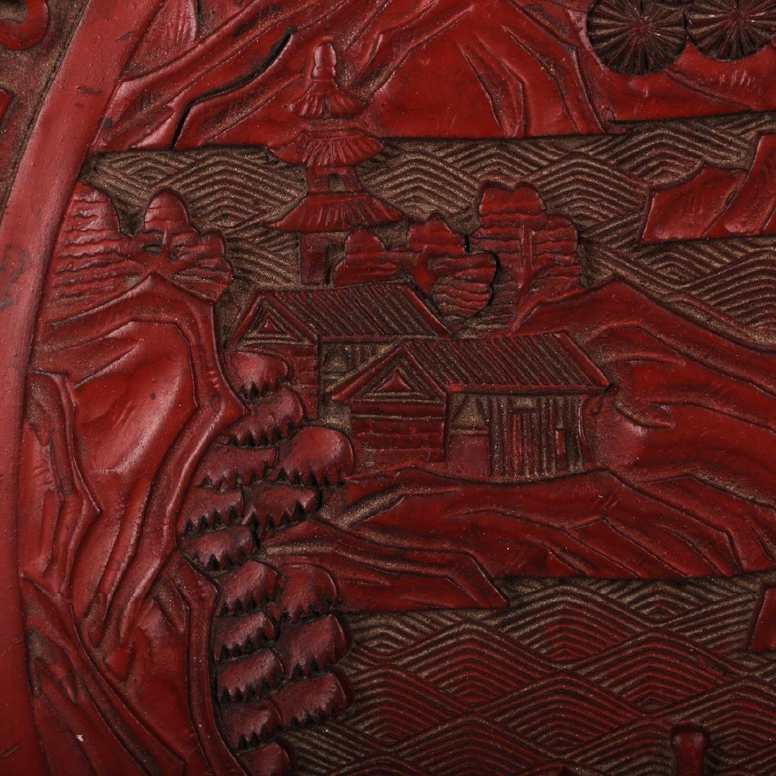 CHINESE CINNABAR LACQUER CHARGER - 4