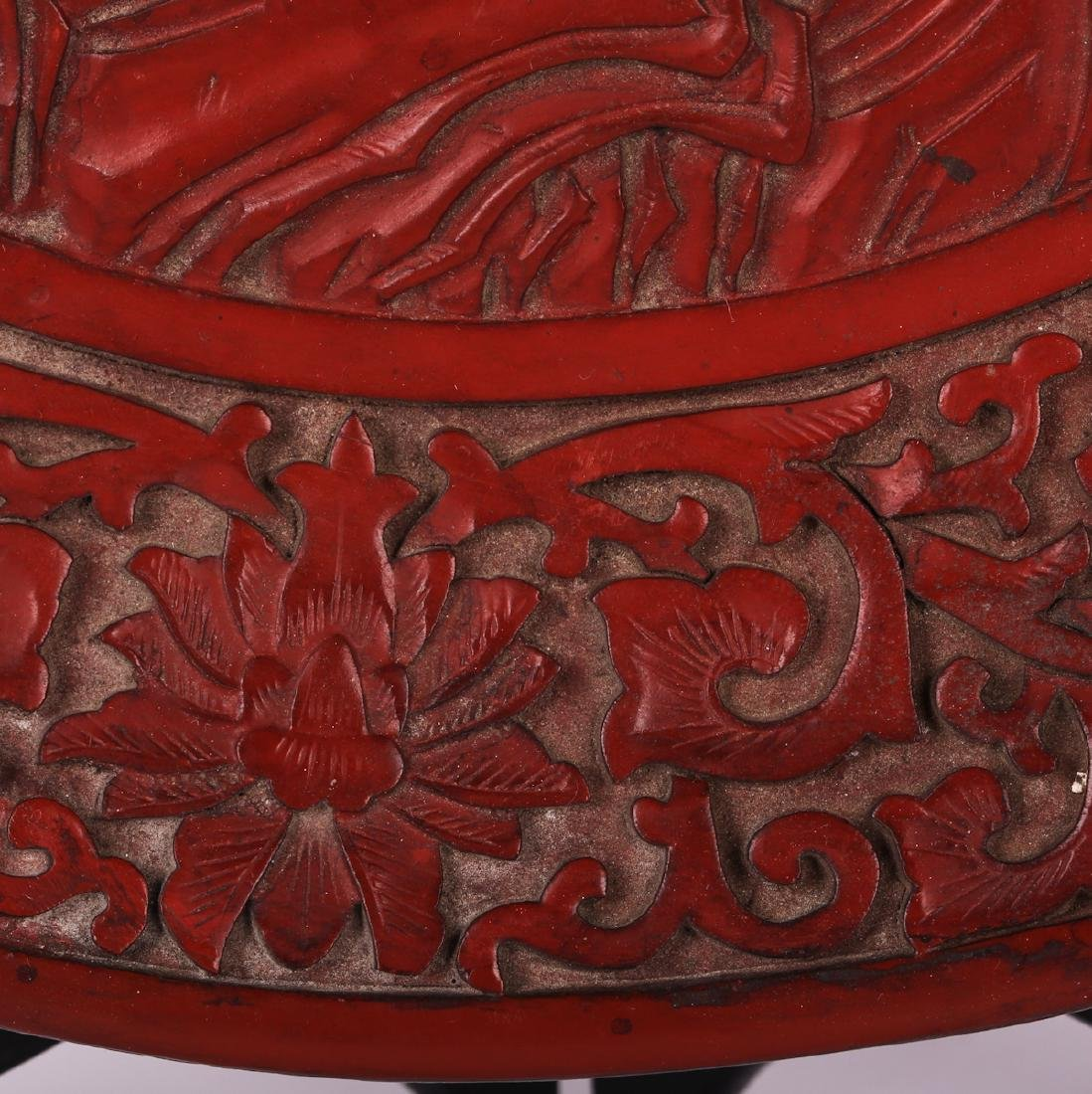 CHINESE CINNABAR LACQUER CHARGER - 6