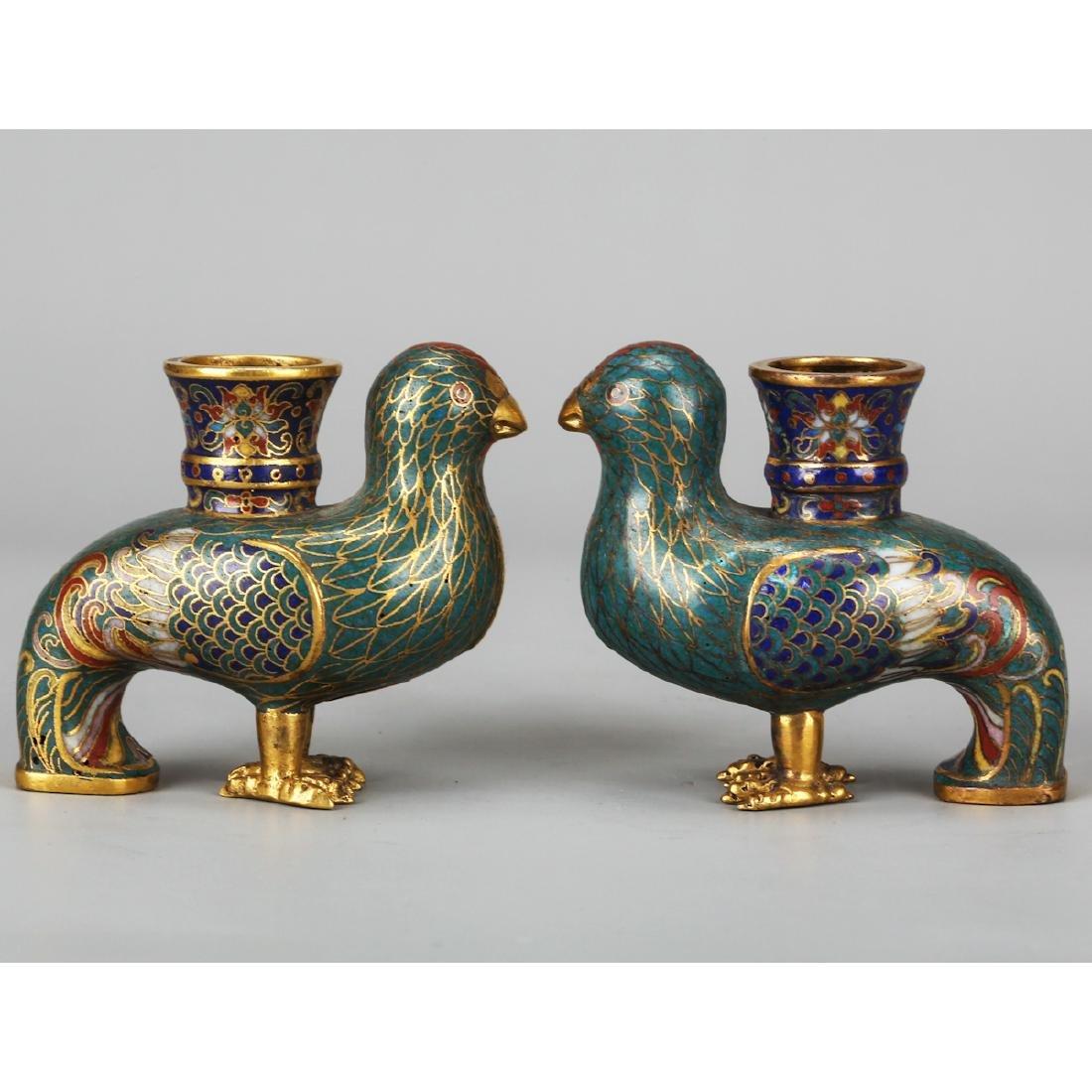 CHINESE CLOISONNE BIRD VASES, PAIR - 2