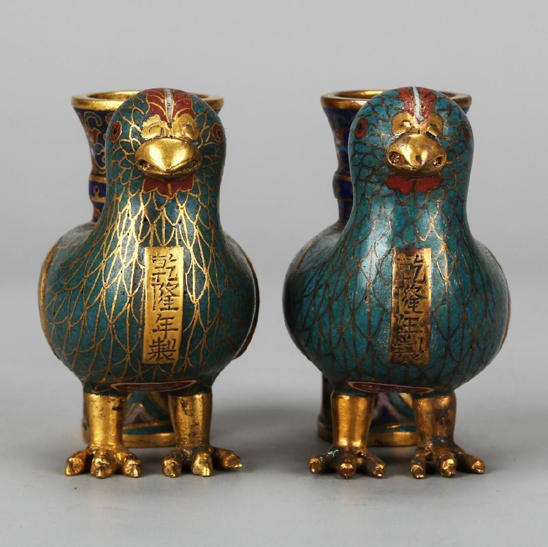 CHINESE CLOISONNE BIRD VASES, PAIR - 3