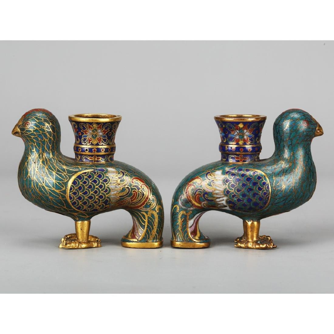 CHINESE CLOISONNE BIRD VASES, PAIR - 5