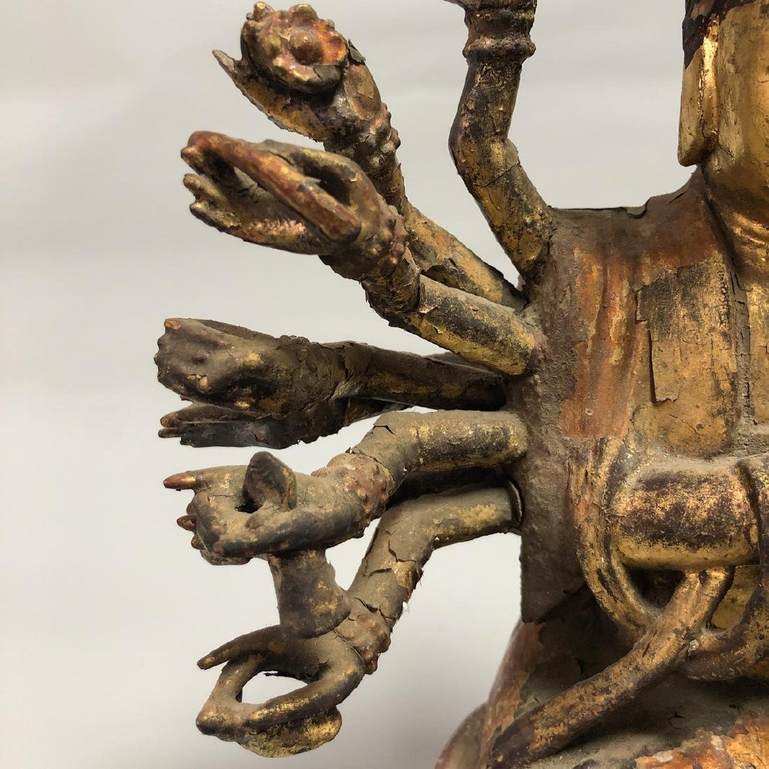 CHINESE WOODEN FIGURE OF GUANYIN - 4