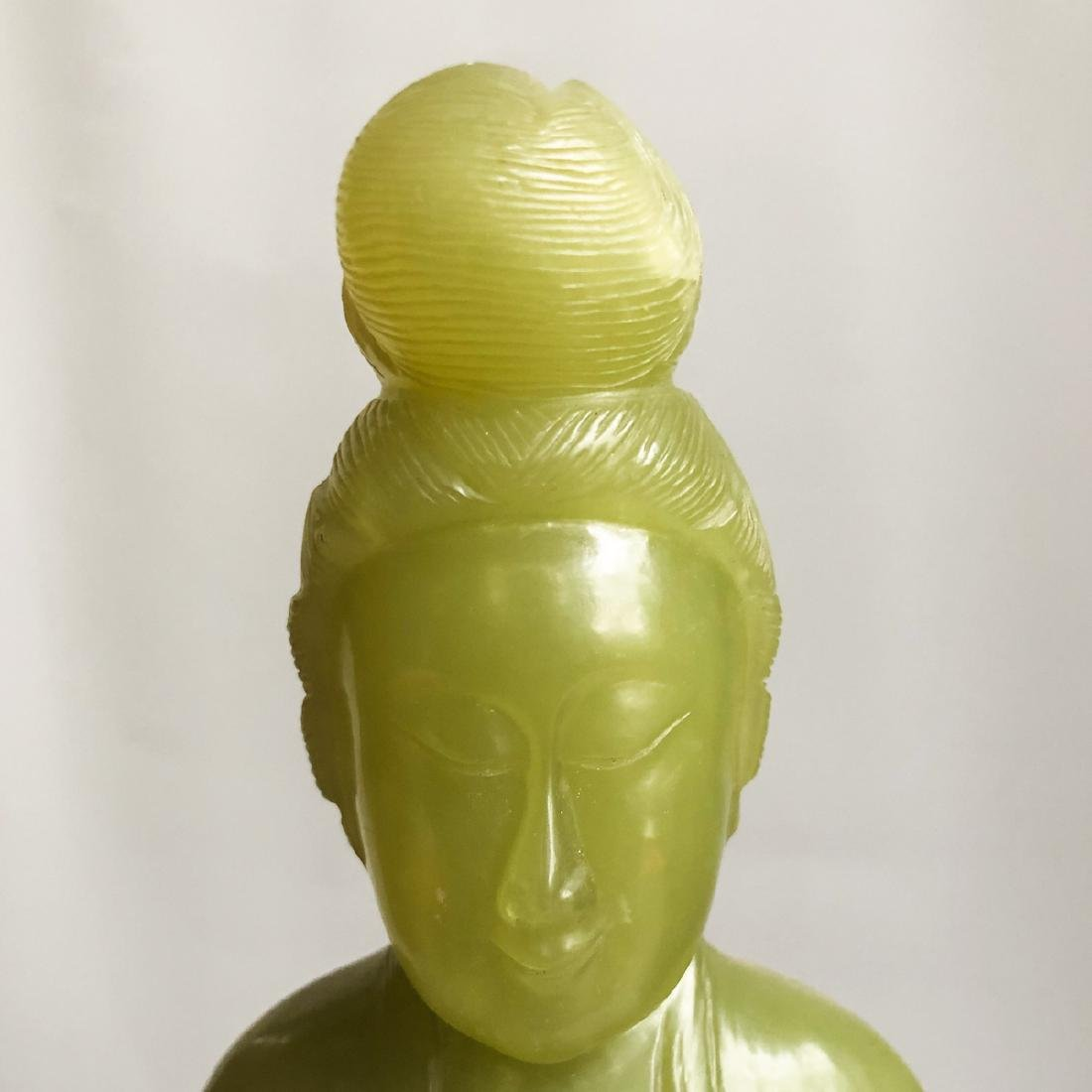 CHINESE SPINACH JADE CARVED GUANYIN - 2