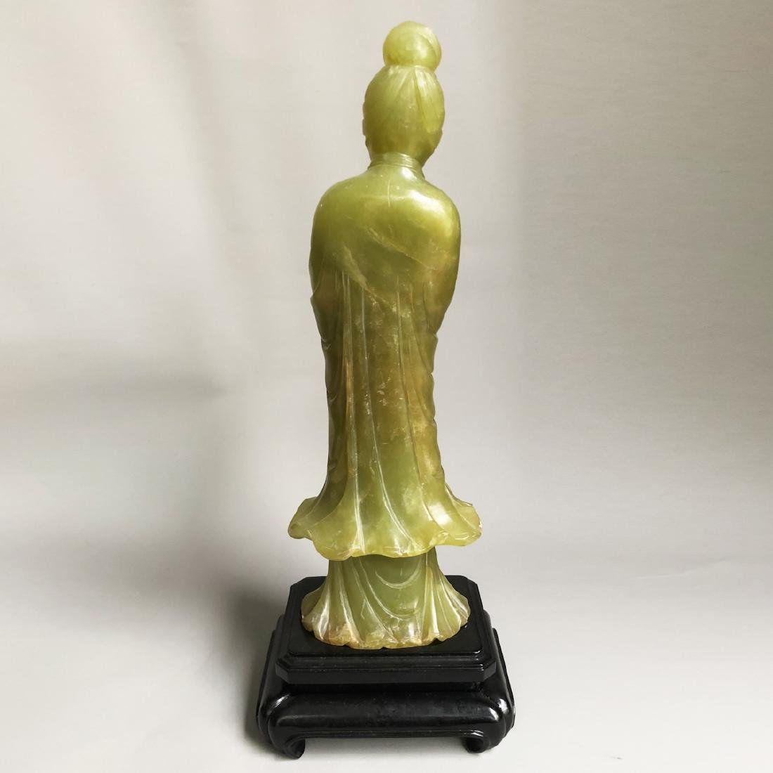 CHINESE SPINACH JADE CARVED GUANYIN - 5