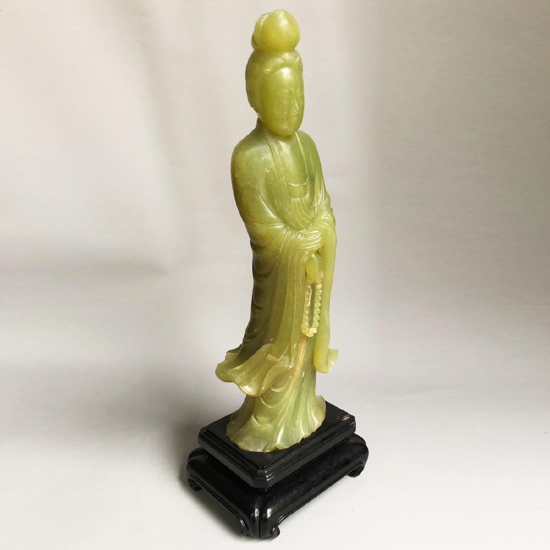 CHINESE SPINACH JADE CARVED GUANYIN - 6