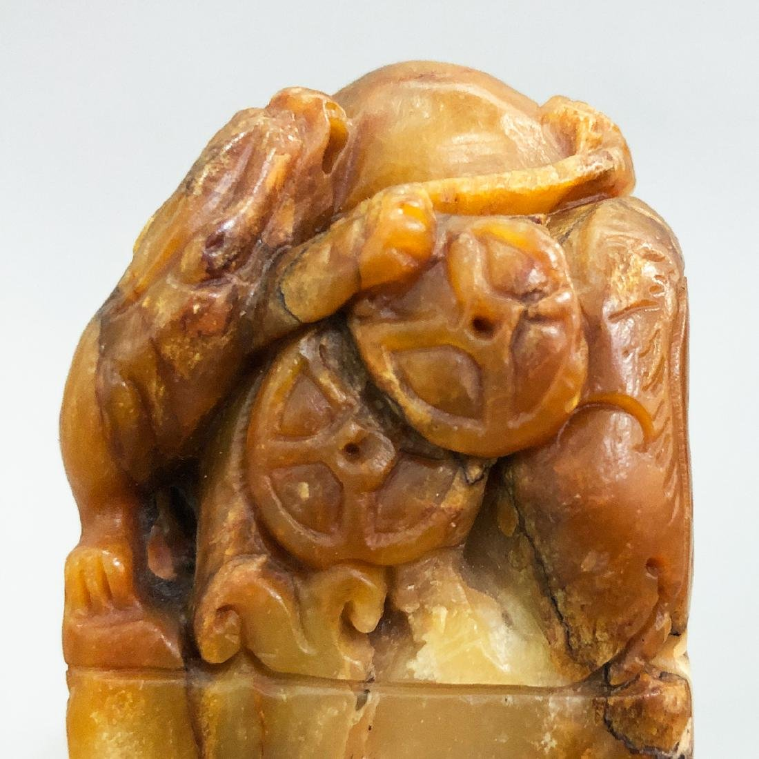CHINESE SOAPSTONE CARVED BEAST SEAL - 4