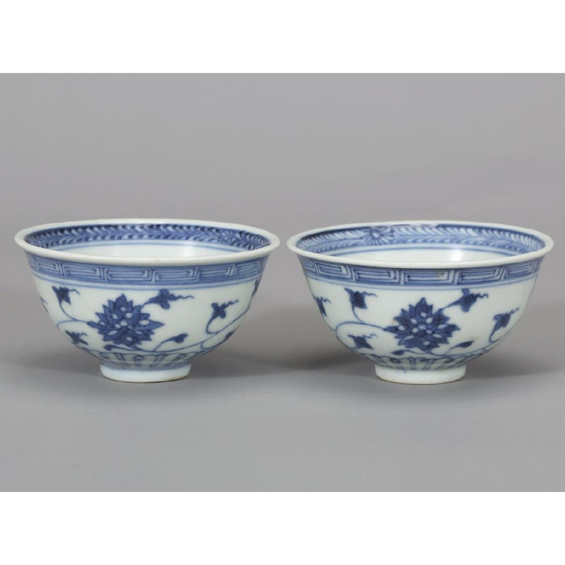 CHINESE PAIR OF BLUE WHITE PORCELAIN BOWL