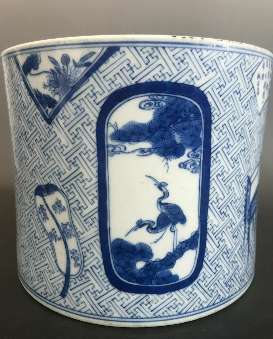 BLUE WHITE PORCELAIN BRUSH POT, QING DYNASTY