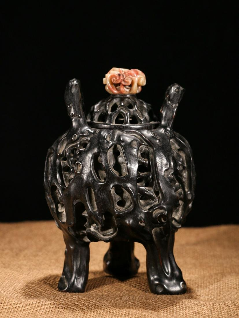 CHINESE ZITAN WOOD COVER CENSER