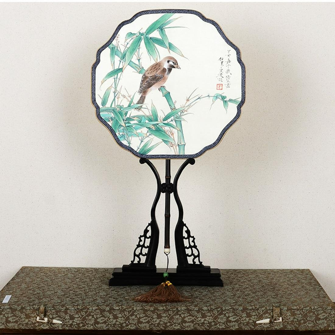 A Chinese Bird-and-flower Patterned Silk Round Fan