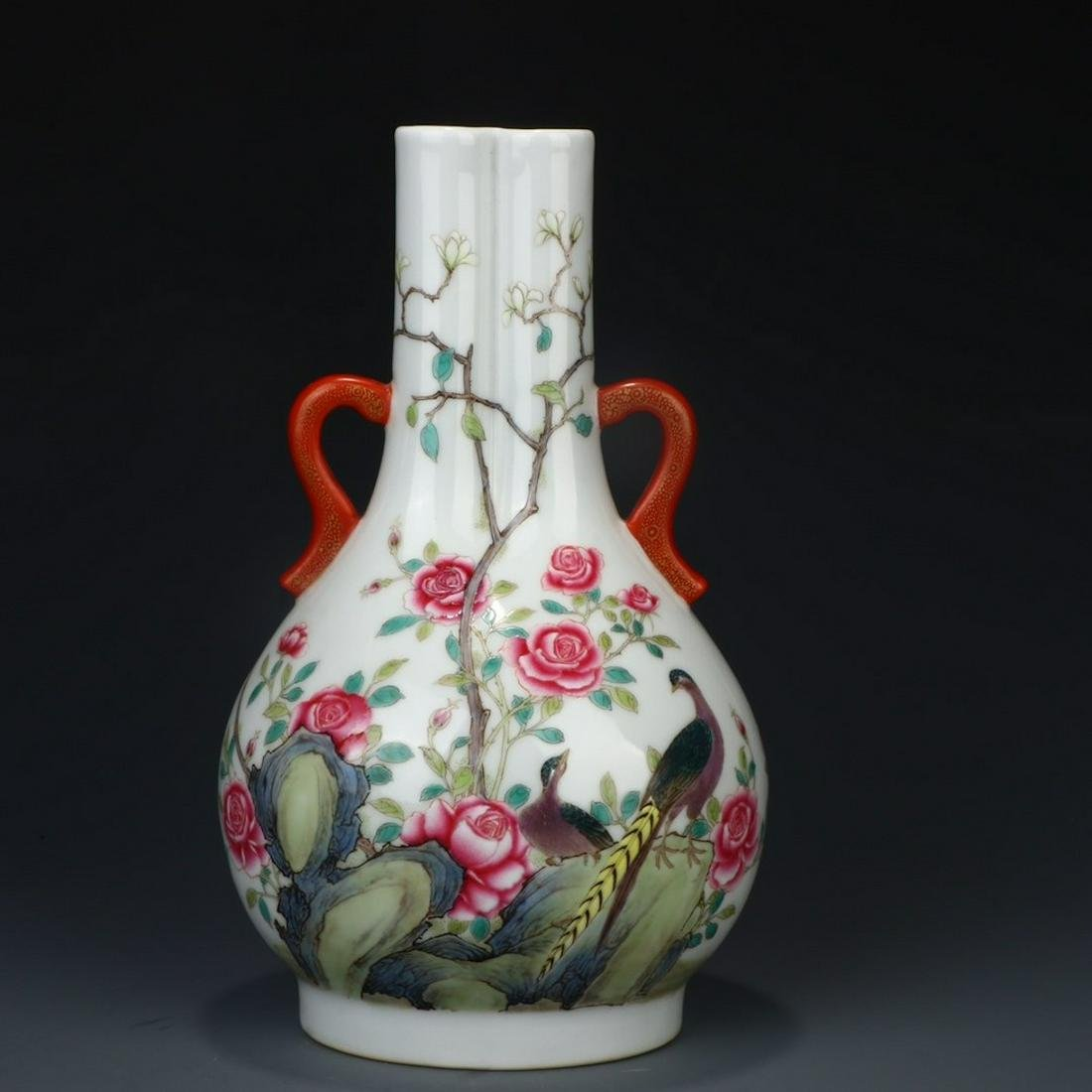 A Chinese Famille Rose Floral Porcelain Double-eared