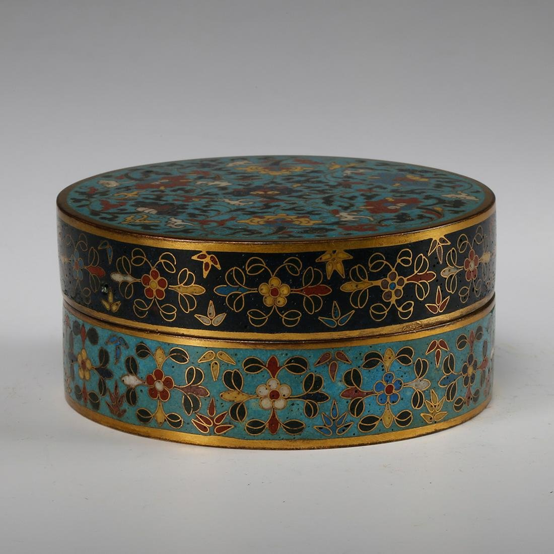 CHINESE CLOISONNE FOLIAGE COVER BOX, QING DYNASTY