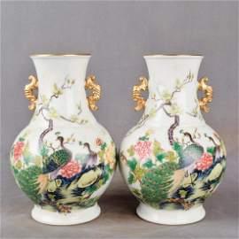 A Pair of Chinese Enamel Flower&Bird Pattern Porcelain